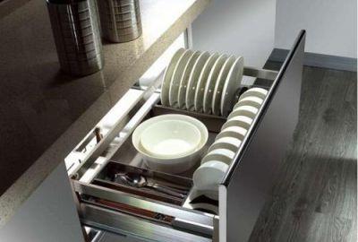 Giá để bát đĩa, xoong nồi inox nan vuông – cánh kéo dùng ray trượt giảm chấn