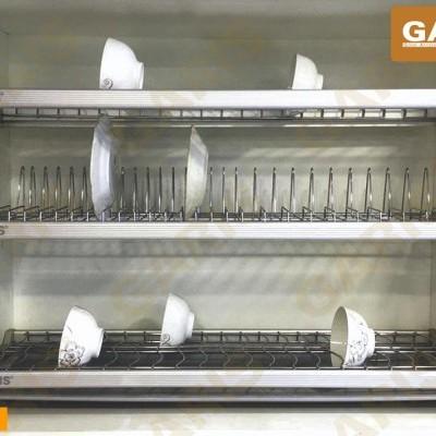 Giá bát đĩa đa năng cố định, nan tròn bề mặt điện hóa, 3 tầng, lắp tủ bếp trên - Base series