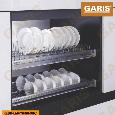 Giá bát đĩa đa năng cố định, nan tròn, bề mặt mạ chrome, 2 tầng, lắp tủ bếp trên - Premium series