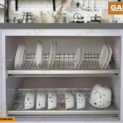 Giá bát đĩa đa năng cố định, nan vuông kết hợp tròn bề mặt điện hóa, 2 tầng, lắp tủ bếp trên - MV series