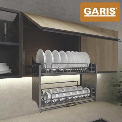 Giá bát đĩa đa năng nâng hạ, nan thép hình oval, bề mặt phủ nano 5 lớp, 2 tầng, tủ bếp trên - Titanium series
