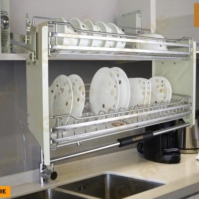 Giá bát đĩa đa năng nâng hạ, nan vuông, bề mặt điện hóa, 2 tầng, lắp tủ bếp trên - Base series