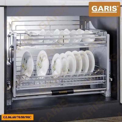 Giá bát đĩa đa năng nâng hạ, nan vuông, bề mặt mạ chrome, 2 tầng, lắp tủ bếp trên - Premium series