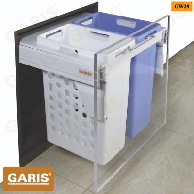 Giỏ để đồ giặt đôi - 70L (2*35L), ray hộp giảm chấn